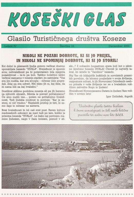 Koseški glas št. 16, december 2001