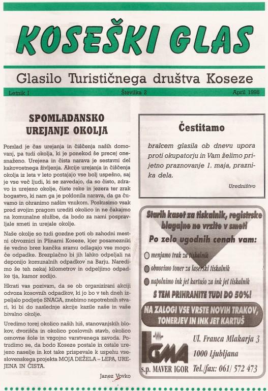 Koseški glas št. 2, april 1998