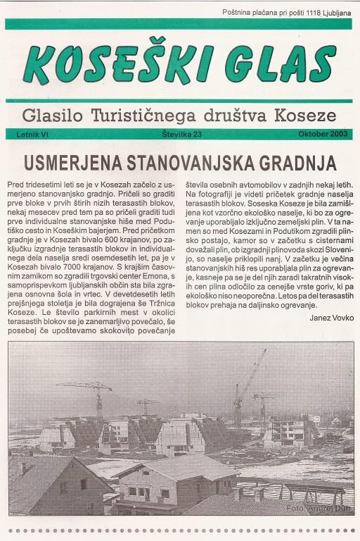 Koseški glas št. 23, oktober 2003