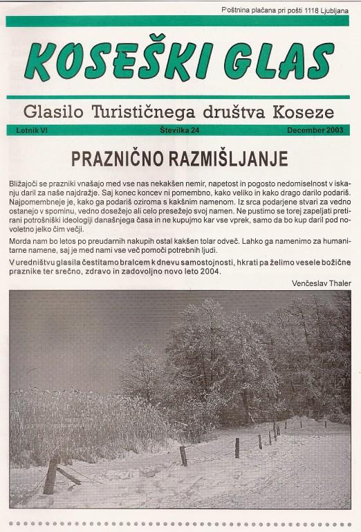 Koseški glas št. 24, december 2003