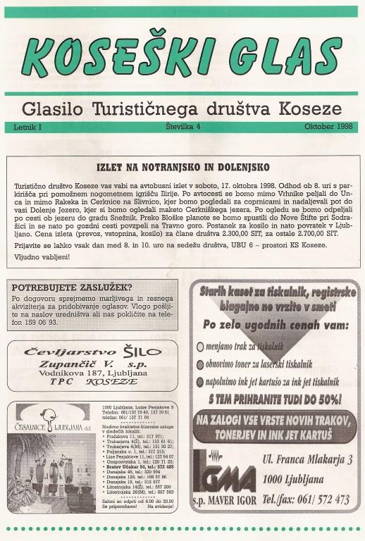 Koseški glas št. 4, oktober 1998