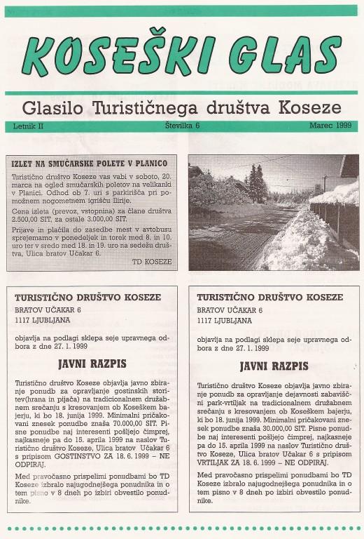 Koseški glas št. 6, marec 1999