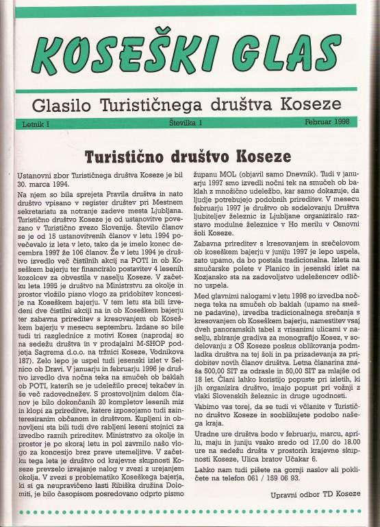 Koseški glas št. 1, februar 1998