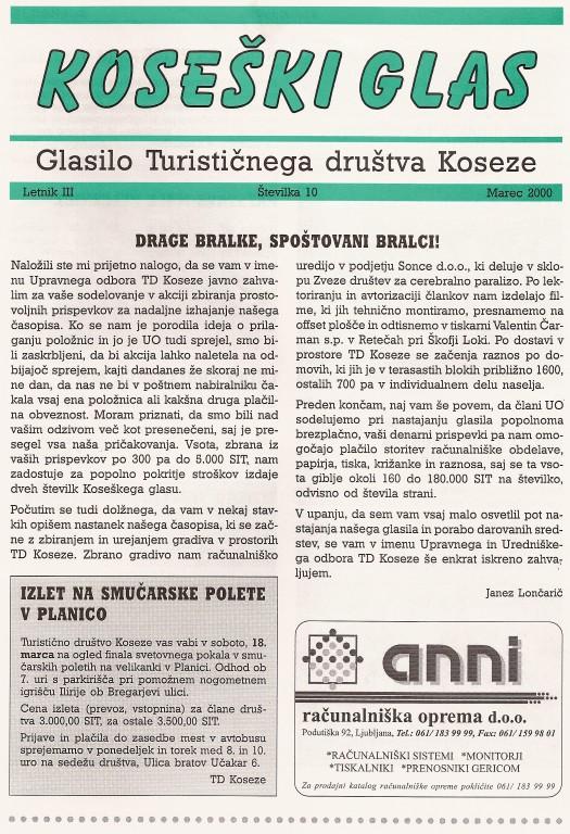 Koseški glas št. 10, marec 2000