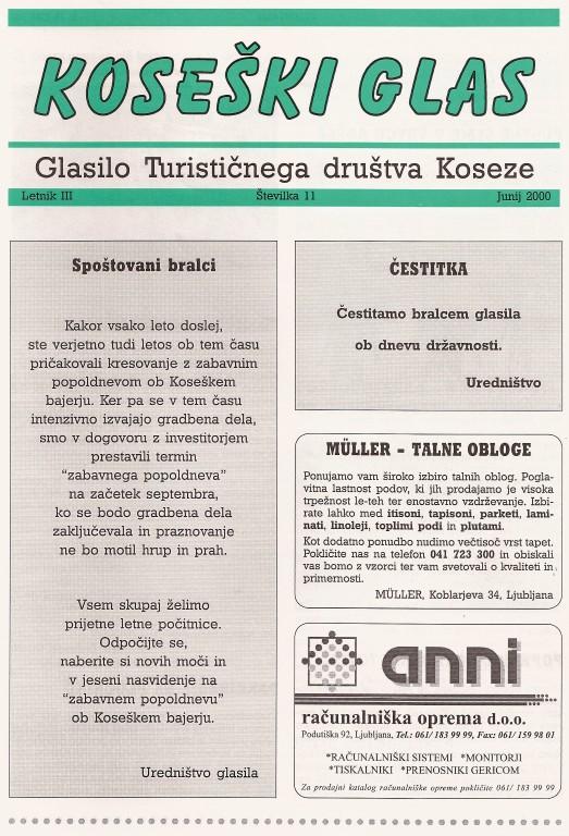 Koseški glas št. 11, junij 2000