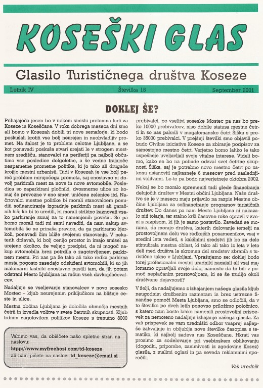Koseški glas št. 15, september 2001