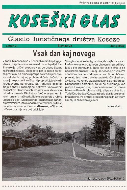 Koseški glas št. 22, junij 2003