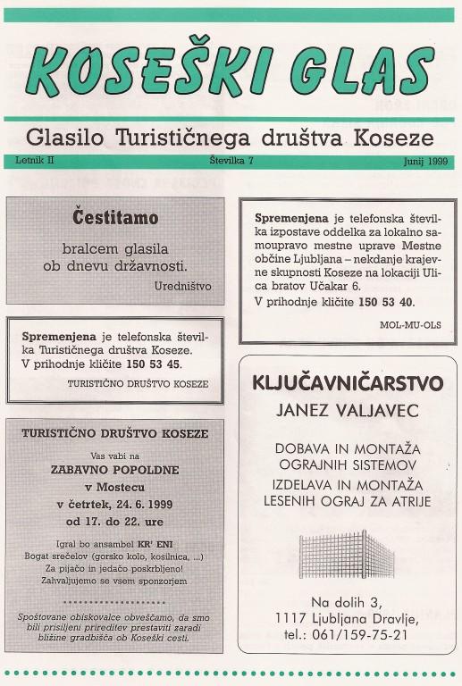 Koseški glas št. 7, junij 1999