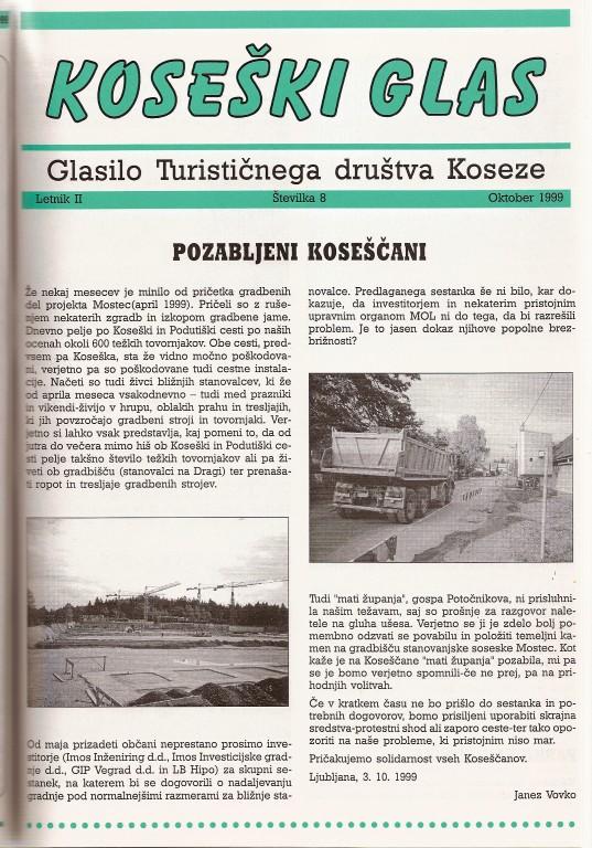 Koseški glas št. 8, oktober 1999
